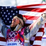 Winner Kotsenburg of the U.S. celebrates after the men's snowboard slopestyle final competition at the 2014 Sochi Olympic Games in Rosa Khutor