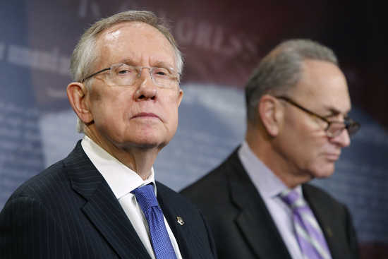 Reid and Schumer hold a news conference at the U.S. Capitol in Washington