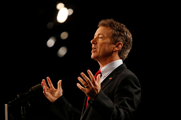 LOUISVILLE, KY - APRIL 7:  Sen. Rand Paul (R-KY) delivers remarks while announcing his candidacy for the Republican presidential nomination during an event at the Galt House Hotel on April 7, 2015 in Louisville, Kentucky. Originally an ophthalmologist, Paul rode the Tea Party wave to office in 2010. (Photo by Luke Sharrett/Getty Images)