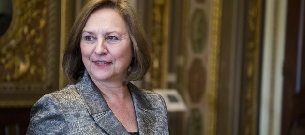 UNITED STATES - APRIL 1: Sen. Deb Fischer, R-Neb., leaves the Senate Republicans' policy lunch on Tuesday, April 1, 2014. (Photo By Bill Clark/CQ Roll Call)