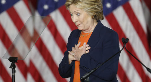 Democratic presidential candidate Hillary Clinton reacts after giving an address on national security Thursday, June 2, 2016, in San Diego, Calif. (AP Photo/John Locher)